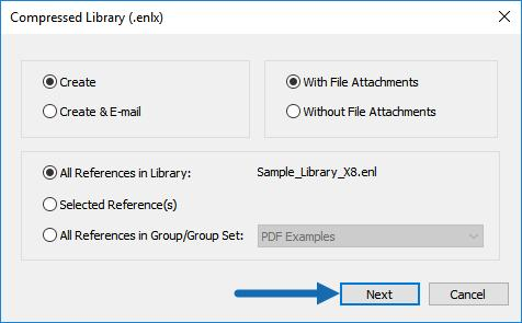 Select Compressed Library from the File menu in EndNote. You should see a screen like the one below. Leave the options as shown to save a complete copy of your library with all attachments.