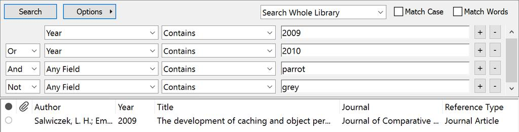 However, if I put the OR criteria at the end of the search, as shown below, any reference published in 2010 shows in my results, even if it includes the word grey. 6.