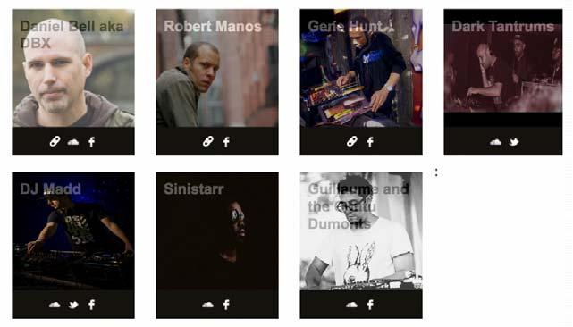 FIGURE 1. Screenshot of selected artists from the Forward DC festival of electronic music and culture, 2015. (From www.forwarddc.com/artists.html.
