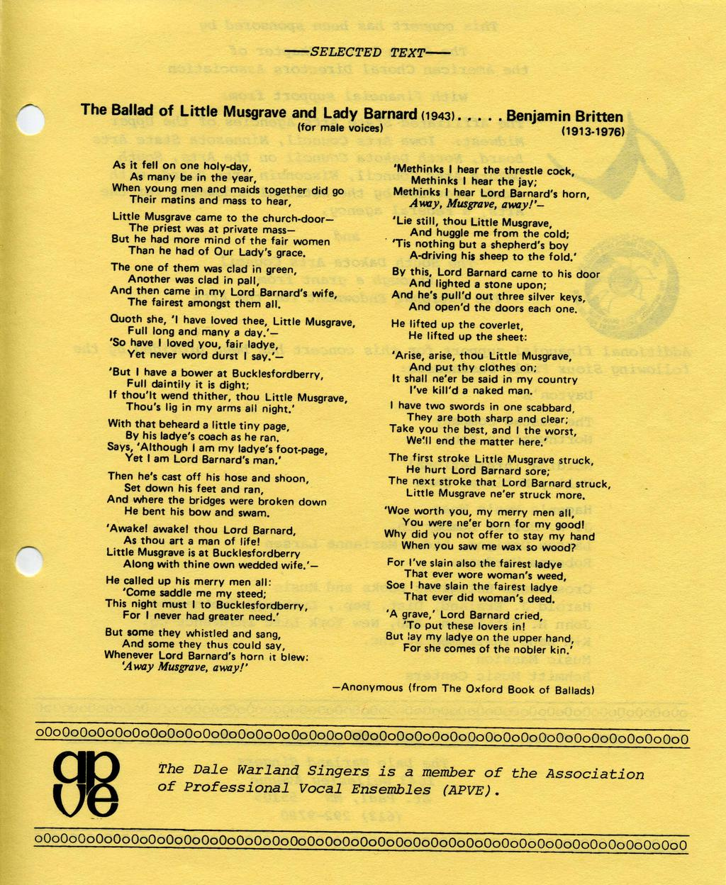-SELECTED TEXT- The Ballad of Little Musgrave and Lady Barnard (1943). (for male voices)!'.