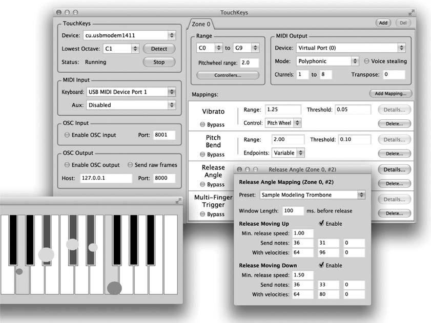 Figure 5. TouchKeys software interface, including touch display (left), general settings with list of mappings (center), and detailed settings for the release angle mapping (right).