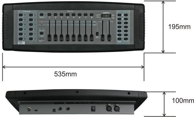 Product Specification Model: Showtec SM-8/2 Power Supply: DC 9Volt - 300mA Power connector: Adapter included Fixtures: 12 (each 16 channel) Scenes: 240 (30 banks) Chases: 6 Run mode: Auto, Music