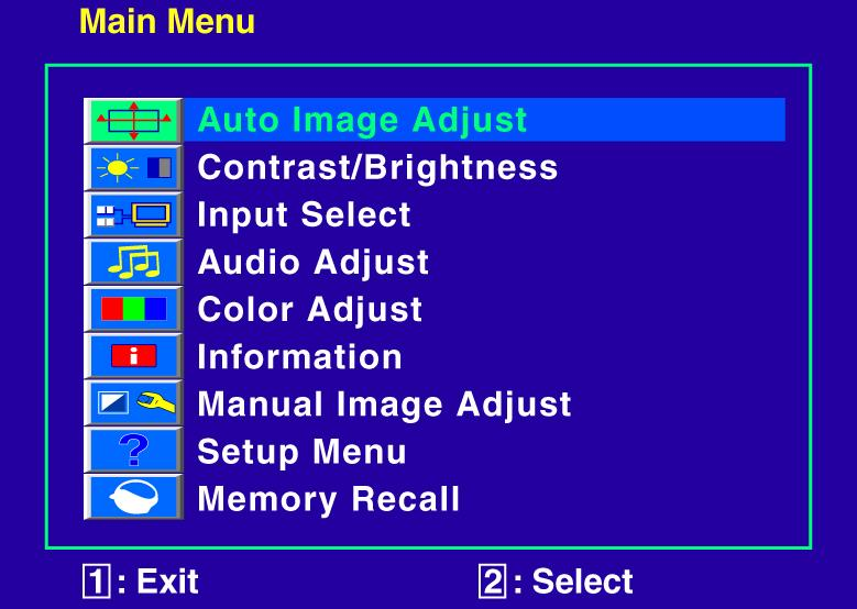 Advanced Operation OSD Menu You can use the OSD menu to adjust various settings for your TFT Touchscreen LED LCD monitor.