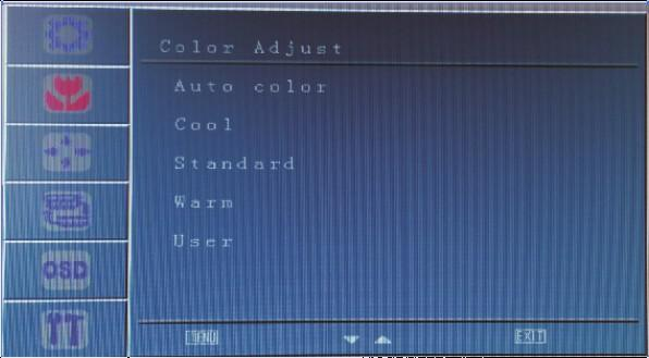 Clock Adjustment: press MENU to show the options in frequency adjustment, then press up or down to adjust the image clock to track stability.