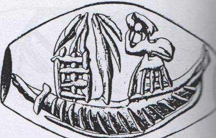 Seal from Makrygialos (LM I). Tree next to a shrine or ikrion.