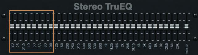 (Inspired by Aphex Aural Exciter*) Unlike typical graphic EQs, our STEREO TruEQ delivers the exact frequency response for the new fader setting, taking neighboring fader settings into account for