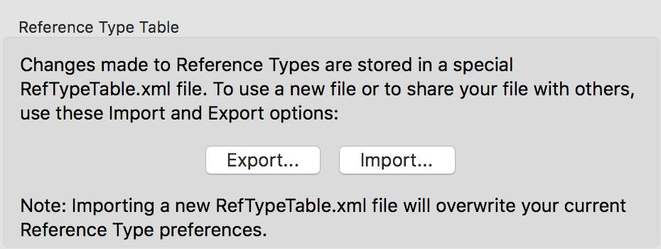 4. Under Reference Type Table, click Export to display a file dialog. 5. Name the file, select a folder where you will be able to find it later, and click Save. EndNote will append an.