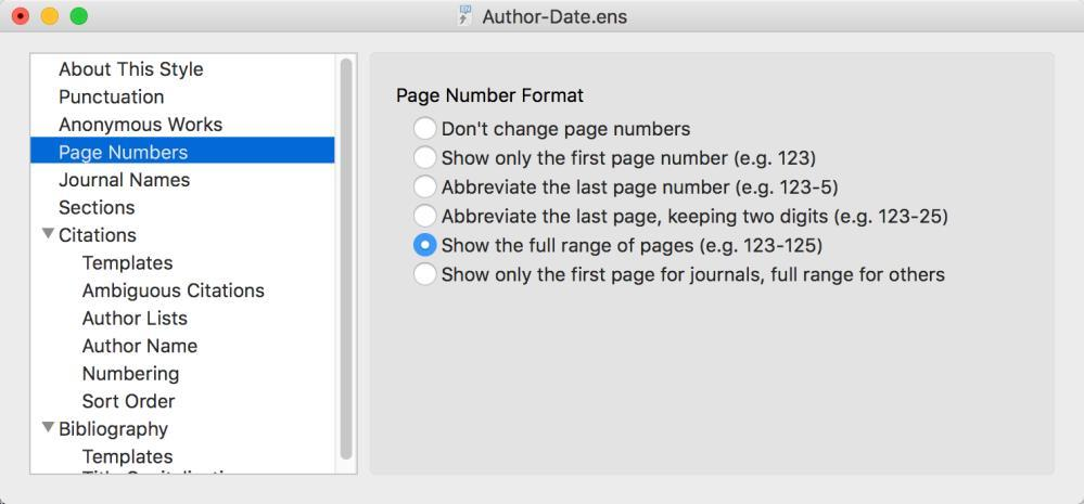 3.2.4 Page Numbers Different journals and style manuals have different requirements for how page numbers should be displayed in the bibliography.