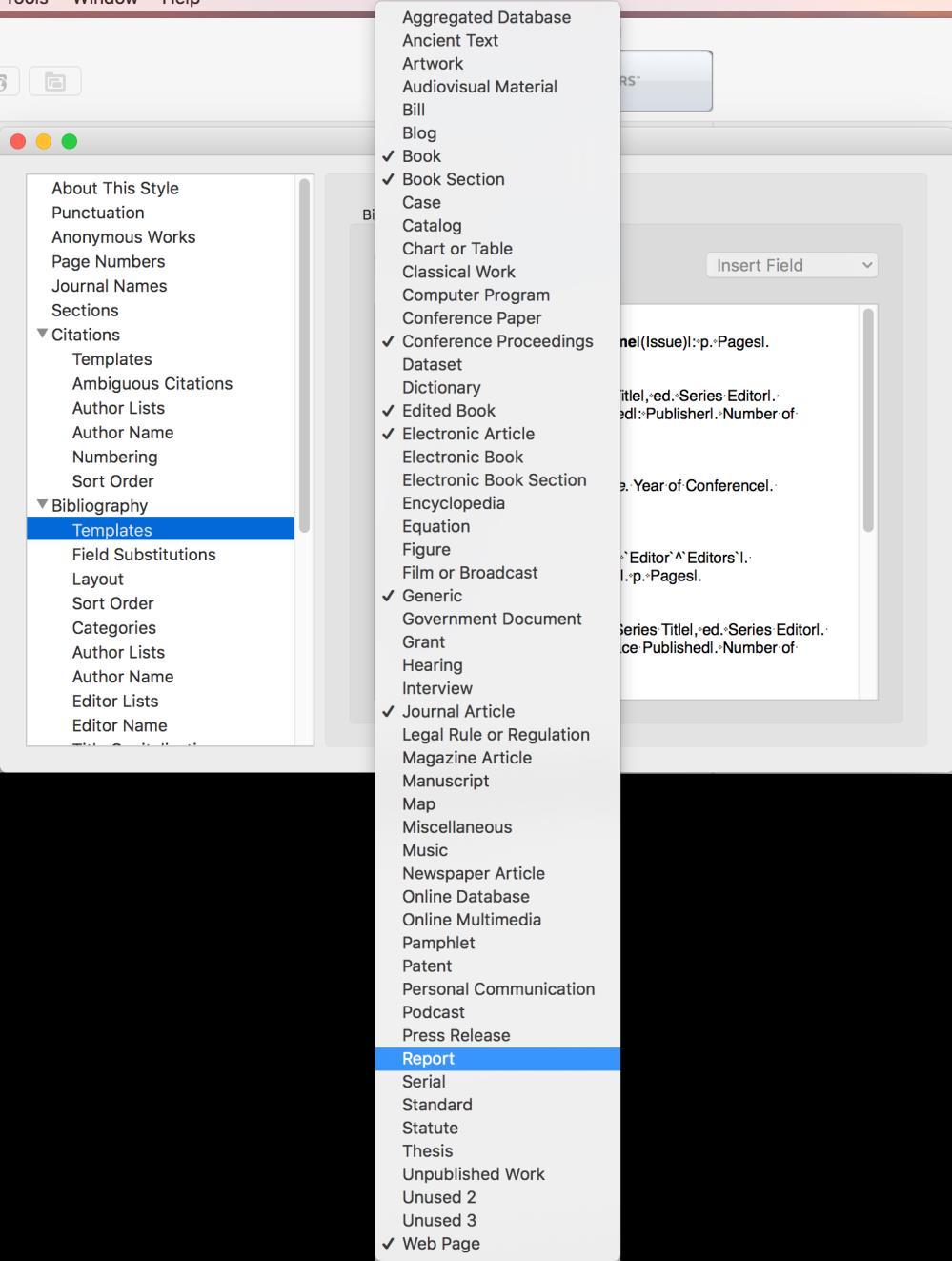 A new template for that reference type is added at the bottom of the Style window (scroll to the bottom of the Style window if you do not see it).