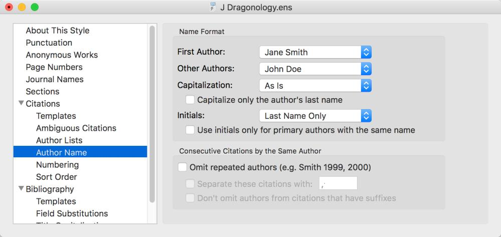 Author Name The Author Name section controls how the authors names will appear within the formatted citation. The default here is the appropriate choice for most in-text citations Last Name Only.