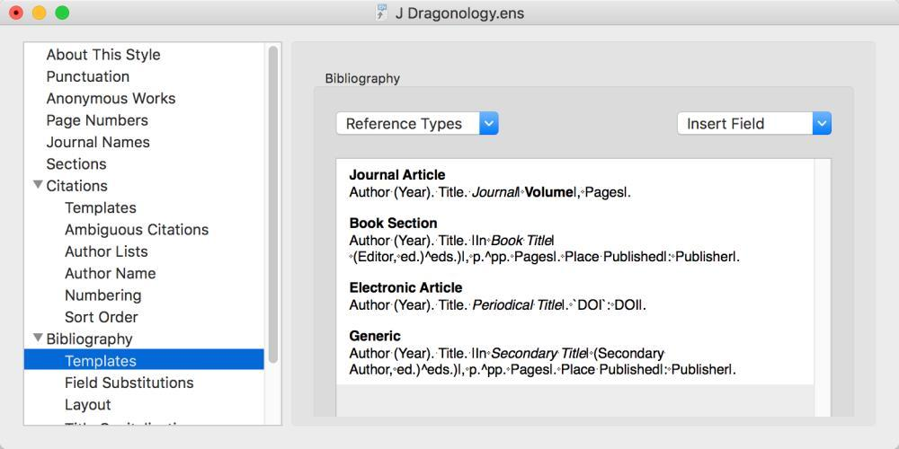 4.2.3 Bibliography This section of the style controls most of how the reference list will be formatted.