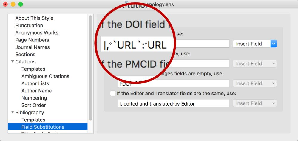 2. Use the Insert Field button to select fields and type spaces as needed. For example, our Journal Article example provided above shows the author, Grayhame, before everything else.