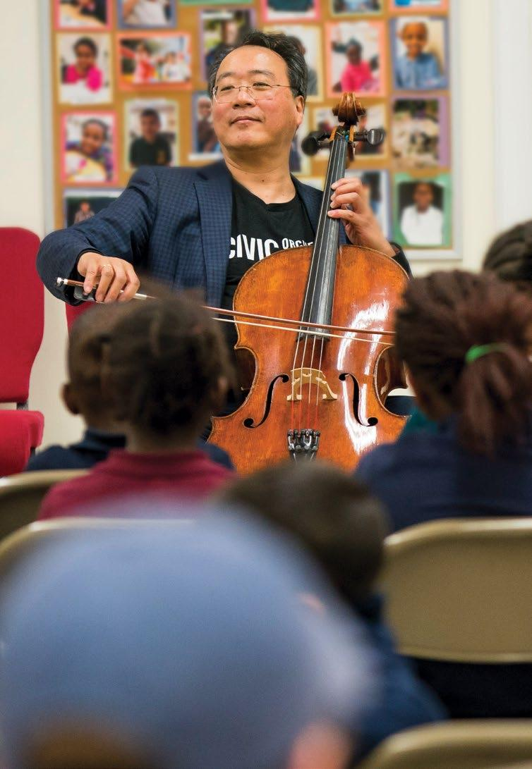 Cover: CSO bass Dan Armstrong demonstrates his instrument for students at Sidney Sawyer Elementary School. Left: Yo-Yo Ma performs at RefugeeOne during the 2017 Civic Orchestra Bach Marathon.