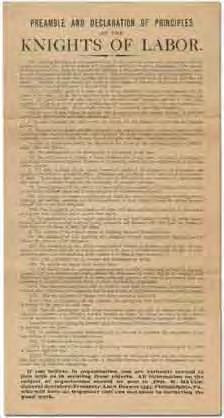 26 (Labor) [Broadside]: Preamble and Declaration of Principles of the Knights of Labor. Philadelphia: Knights of Labor (Jno. W. Hayes) [circa 1885?]. Broadside.