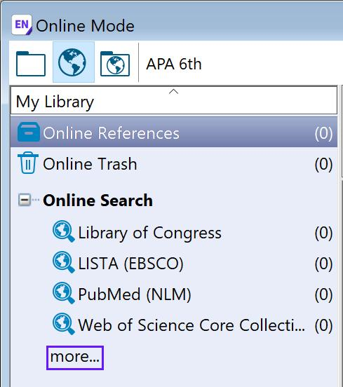 EndNote X9 Guided Tour: Windows Page 21 of 41 2. Select the PubMed connection file and EndNote will automatically attempt to connect to the online database.