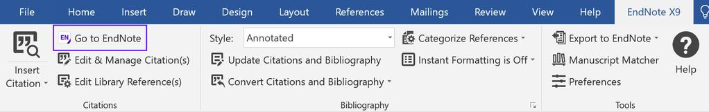 EndNote X9 Guided Tour: Windows Page 33 of 41 a. Click the top part of the Insert Citation button. b. The EndNote Find & Insert My References window appears.