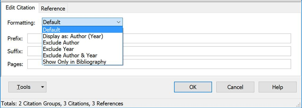 : Author (Year), the insertion option that was selected when the reference was ad