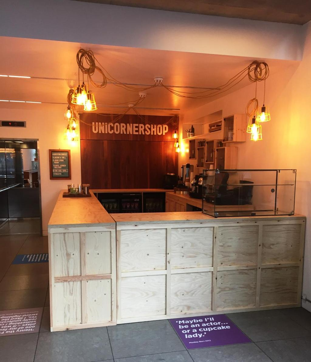 There is a cafe in the Foyer called the Unicornershop where you can buy drinks and snacks.