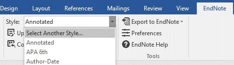 4. Cite While You Write (CWYW) in Microsoft Word 2016 If you want to use the more advanced features of EndNote you can opt to use the CWYW toolbar to insert citations and references directly into
