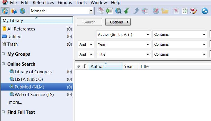 10. Search Remote Databases To search PubMed directly from EndNote On the Group Panel select the