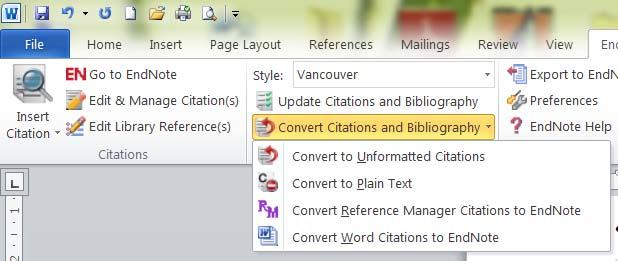 Citation and bibliography would also need to Convert to Plain Text when you want to send the document for journals, publishing or examination.