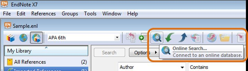 Searching online databases within EndNote Something to be aware of, whilst you can search online for journals and publications, you