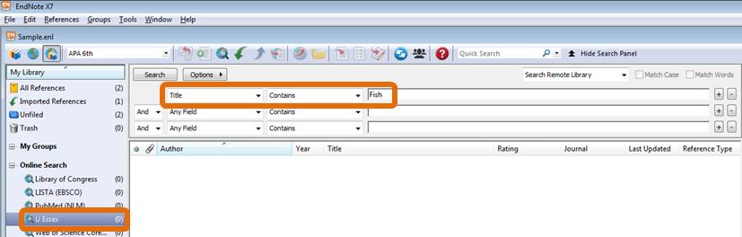 Step 2: Enter the search criteria eg Title = Fish then press Search or Return (you can