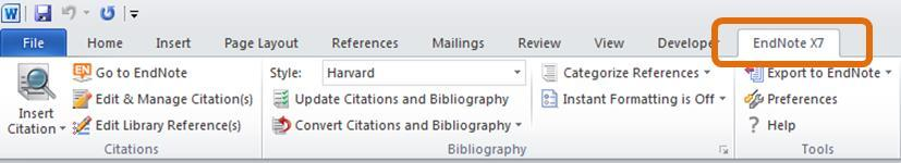 References in Word The EndNote Toolbar in Word 2010 Activating the EndNote options An EndNote X7 tab will appear in the top menu of Word, simply