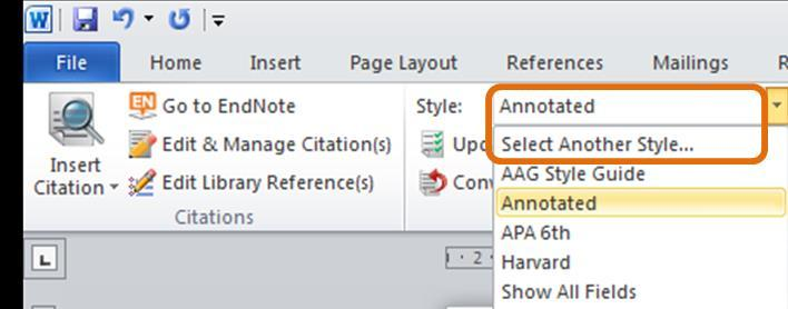 references using the Style drop down list in EndNote and in Word.