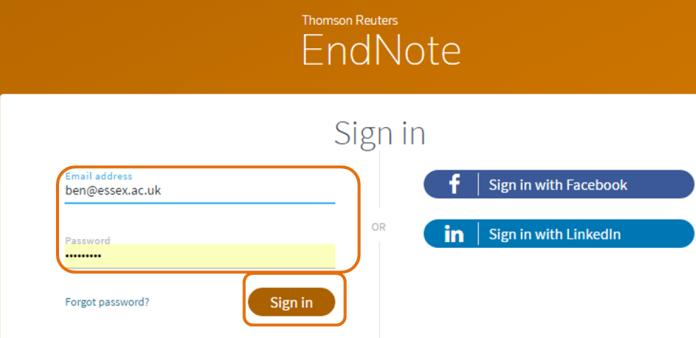 Step 8: Sign in to EndNote online by clicking on EndNote in the top menu bar and then type in your