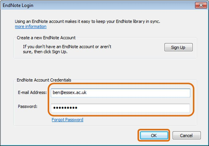 Step 2: Enter your University of Essex email address and your EndNote online password then click OK.