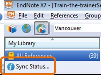 After a Sync you will see a Sync Status option just under the All References group. Click this to see the current status.