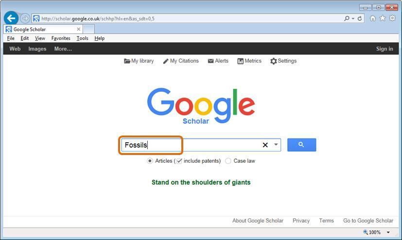 Step 3: Search for a subject (eg fossils),