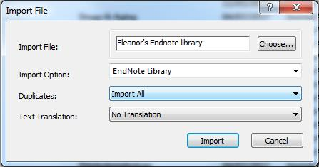 11. Merging libraries To merge two Endnote libraries together: Open the library you want to copy or merge documents into. Select File Import File.