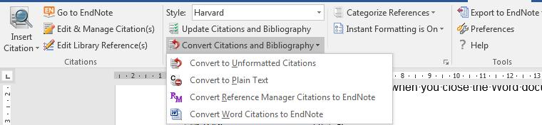 12. Move text with citations To move text around within a Word document it is possible to cut and paste as usual.