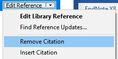 Click on Edit and Manage Citations Click on Edit Reference Remove Citation Click OK.