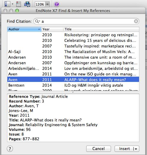 Go to Word Select the place in the text where you want the reference to be Go to Insert Citation Type a in the search field Select the first reference Click on Insert Select the next reference and