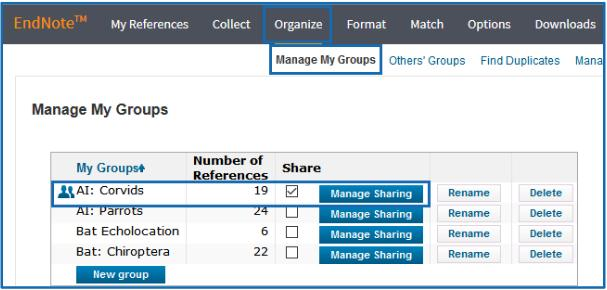 - Mark the Share box for the group you want to share, as shown above.