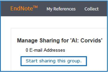 - Click the Manage Sharing button for your shared group to begin sharing it