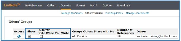 - If the user the group was shared with selects Others Groups from their Organize tab, they will see