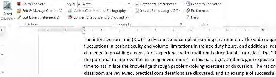 Inserting Citations and Bibliographies into a Document In Document : 1 In the document click the place where you wish to place a citation in the text. Click the Go to EndNote button.