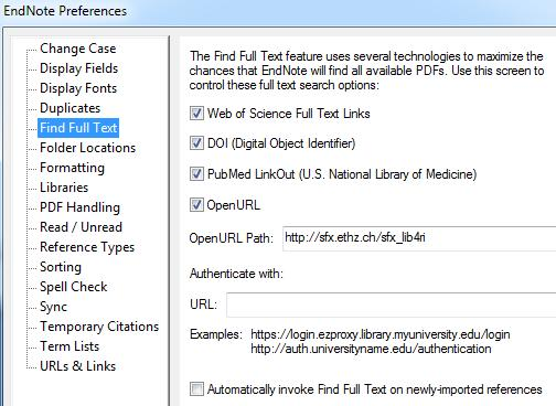 Find & Attach Fulltext PDFs Double-check EN s <Find Full Text> settings via Edit >
