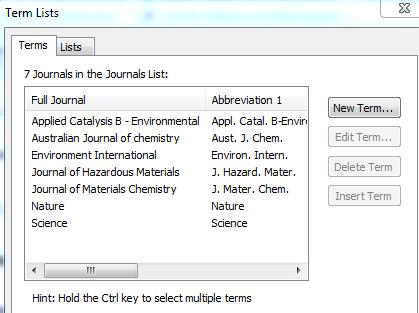 Journal Term List) and this after editing the abbreviations Tip: