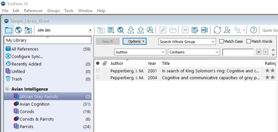 EndNote X8 Guided Tour: Windows Page 12 The Sample Library has examples of all these types of groups.