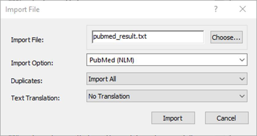 EndNote X8 Guided Tour: Windows Page 31 3. Click the Choose File button to display a file dialog. 4. Navigate to where you saved the file downloaded from PubMed and open it.