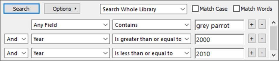 EndNote X8 Guided Tour: Windows Page 34 6. Set the third field to Year and enter 2010 as the second search term. The comparison drop-down list in the middle should be set to Is less than or equal to.
