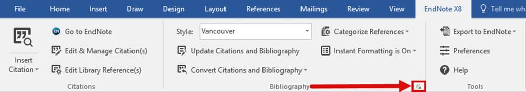 EndNote X8 Guided Tour: Windows Page 40 The Configure Bibliography dialog contains many options for changing the format of the bibliography.