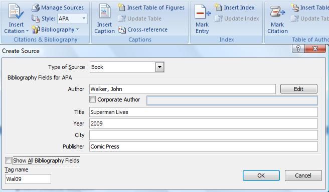 INSERT YOUR SOURCES/CITATIONS Under the References tab, the first button from the right is Insert Citation. When you click on this button you can Add New Source and another window will open.