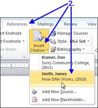 INSERTING A CITATION ALREADY USED IN THE DOCUMENT Each time you use one of these references in your body you can click on the Insert Citation button and select the appropriate source from there.