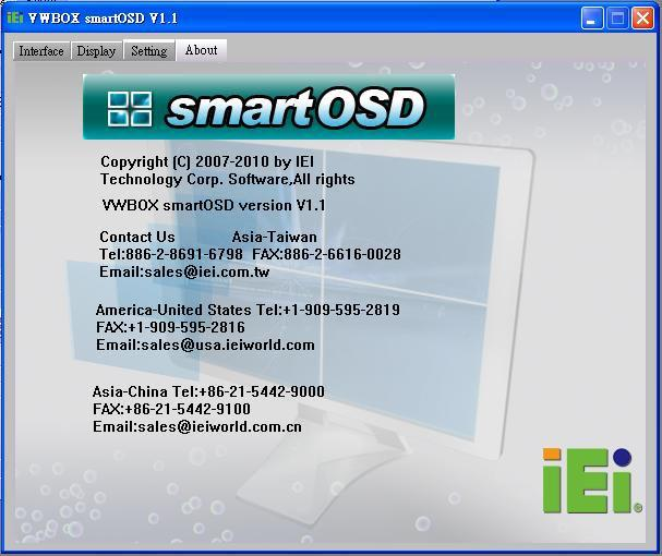 4.1.2.4 About Page The About Page displays contact information. Figure 4-4: SmartOSD About Page 4.1.3 Install Software To install the software, please follow the steps below: Step 1: Follow the instructions from the interactive installer to install the SmartOSD on the system.